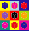 cube sign pop-art style vector image vector image