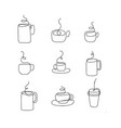 cup of tea or coffee drawn by single vector image