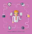 Flat Conceptual Customer Service Operator with vector image vector image