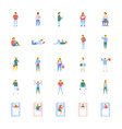 flat icons collection of people vector image vector image