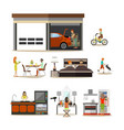 flat icons set of house interior family vector image