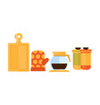 flat set of kitchen items wooden cutting vector image