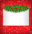 frame with holly and pine on red vector image vector image