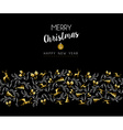Gold Christmas and new year deer holiday pattern vector image vector image