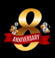 golden 8 years anniversary template with red vector image vector image