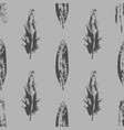 grunge bird feathers seamless pattern on gray vector image