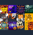 halloween banner set hand drawn style vector image vector image