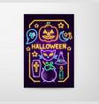 halloween neon flyer vector image vector image