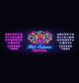 happy mid autumn festival neon sign mid vector image