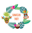 hawaiian party banner with leaves and mask flat vector image vector image