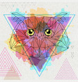 hipster polygonal bird owl on artistic watercolor vector image vector image