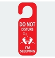 hotel tag do not disturb with sleeping icon vector image