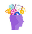 human head with thoughts and ideas metaphor vector image vector image