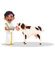 indian tamil man cartoon vector image vector image