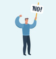 man in protest holding banner vector image vector image