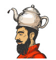 man with kettle teapot hat color sketch vector image vector image