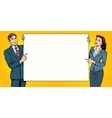 man woman poster advertising your brand here vector image