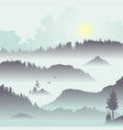 mountain view with flying birds vector image vector image