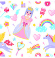 pattern with cute princess vector image vector image