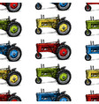 pattern with retro tractor vector image
