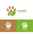 paw and leaf logo combination pet and eco vector image vector image