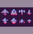 pixel game spaceship transportation floating set vector image vector image