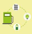 pump station biofuel barrel bulb battery energy vector image