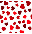 red hearts seamless pattern random scattered vector image