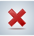reject cross mark sign on gray background vector image