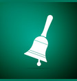 ringing bell icon isolated on green background vector image vector image