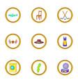 scandinavia icons set cartoon style vector image vector image