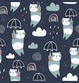 seamless childish pattern with cute pandas vector image vector image