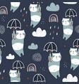 seamless childish pattern with cute pandas vector image