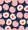 seamless pattern cartoon apples isolated vector image vector image