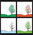 seasons tree on hill vector image vector image