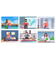 set bloggers recording online video vloggers doing vector image vector image