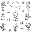 Set of spring doodles item vector image vector image