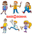 students children back to school cartoon vector image