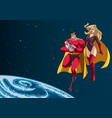 super dad mom and baby in space vector image vector image