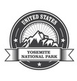 Yosemite National Park round stamp with mountains vector image