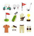 Golf Equipment Flat Set vector image