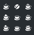 set of coffee cups icons vector image