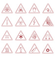 16 various danger signs types outline icons eps10