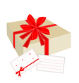 A Gift Box with Red Ribbon and Blank Card vector image vector image