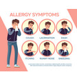 allergy symptoms healthcare problems sickness vector image