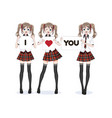 anime manga girl schoolgirl in a red skirt vector image