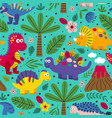 blue seamless pattern with friendly dinosaurs vector image vector image