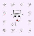 boater hat girl icon hat girl icons universal set vector image vector image