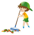 boy raking dried leaves vector image vector image