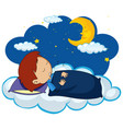 boy sleeping at night vector image vector image